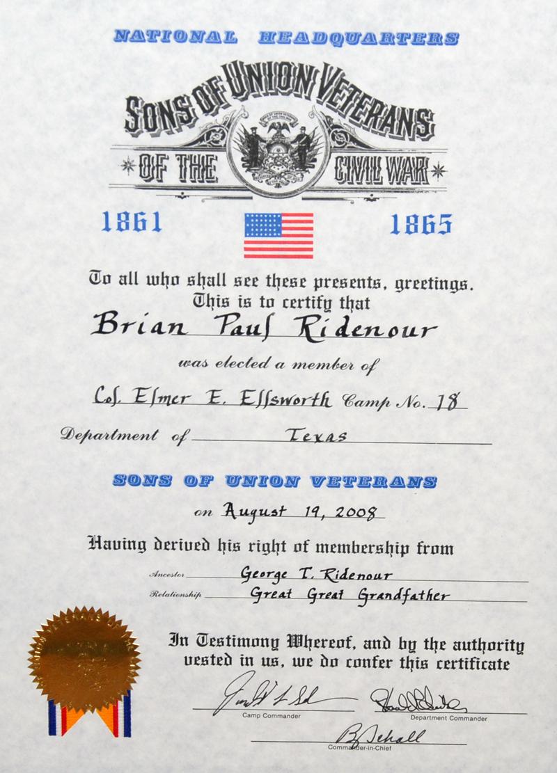 sons veterans union civil war ridenour texas george paul plano via paulridenour